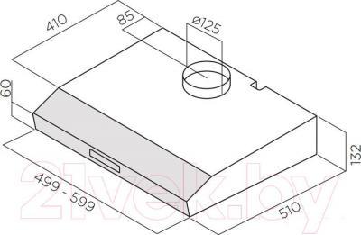 Вытяжка плоская Elica Krea LUX GFA IX/F/60 - габаритные размеры