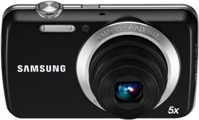 Компактный фотоаппарат Samsung EC-PL20 (EC-PL20ZZBPBRU) Black - Вид спереди