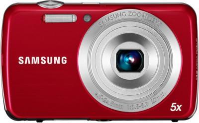 Компактный фотоаппарат Samsung EC-PL20 (EC-PL20ZZBPRRU) Red - Вид спереди