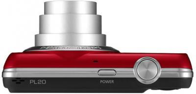 Компактный фотоаппарат Samsung EC-PL20 (EC-PL20ZZBPRRU) Red - Вид сверху