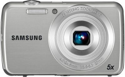 Компактный фотоаппарат Samsung EC-PL20 (EC-PL20ZZBPSRU) Silver - Вид спереди