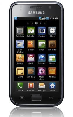 Смартфон Samsung I9000 Galaxy S Metallic Black (GT-I9000 HKYSER) - вид спереди