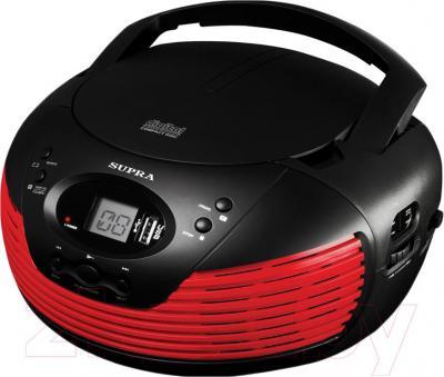 Магнитола Supra BB-CD120U (черно-красный) - общий вид