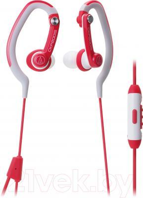 Наушники-гарнитура Audio-Technica ATH-CKP200iS (красный) - общий вид