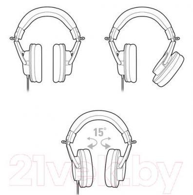 Наушники Audio-Technica ATH-M20x - угол поворота наушников