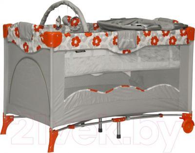 Кровать-манеж Lorelli Travel Kid 2 (Orange Flowers) - общий вид
