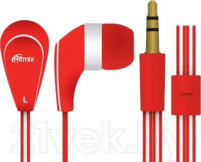 Наушники Ritmix RH-181 (красный) - общий вид