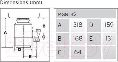 Измельчитель отходов InSinkErator 45-2В - габаритные размеры