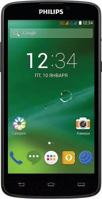 Смартфон Philips Xenium V387 (черный + желтая сменная панель) - общий вид