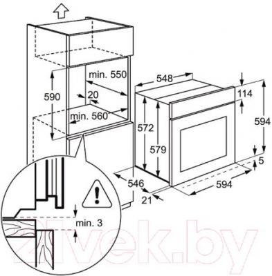 Электрический духовой шкаф Electrolux EOC95751BX - схема встраивания