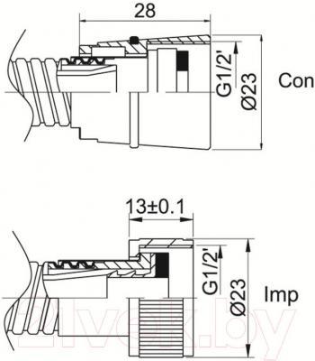 Душевой шланг Rubineta Biflex Con/Imp 600039