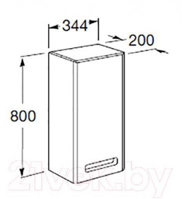 Шкаф-полупенал для ванной Roca The Gap ZRU9000081 (фиолетовый) - технический чертеж
