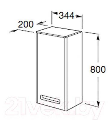 Шкаф-полупенал для ванной Roca The Gap ZRU9000080 (фиолетовый) - технический чертеж
