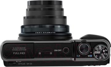 Компактный фотоаппарат Olympus SH-60 (Black) - вид сверху