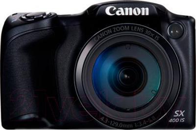 Компактный фотоаппарат Canon PowerShot SX400 IS (черный) - вид спереди