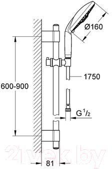 Душевой гарнитур GROHE Rainshower Classic 28770001 - схема