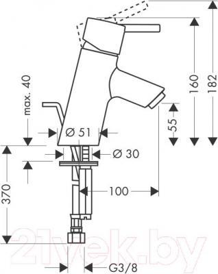 Смеситель Hansgrohe Тalis S 32020000 - технический чертеж