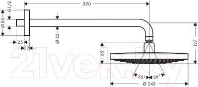 Верхний душ Hansgrohe Select S 240 26466400 - схема