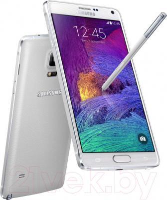 Смартфон Samsung Galaxy Note 4 / N910C (белый) - вид сбоку