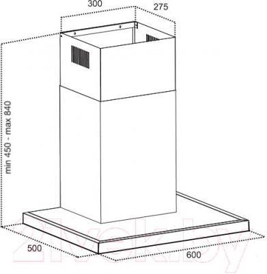 Вытяжка Т-образная Grand Medina (60, нержавеющая сталь) - технический чертеж