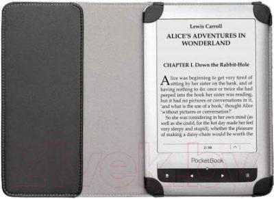 Обложка для электронной книги PocketBook PBPUC-623-BC-DT (черный/светло-серый) - в раскрытом виде