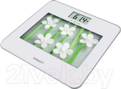 Напольные весы электронные Scarlett SC-BS33E002 (White Flowers) - общий вид
