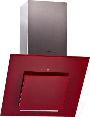Вытяжка декоративная Pyramida HES 30 D-600 (красный) - общий вид
