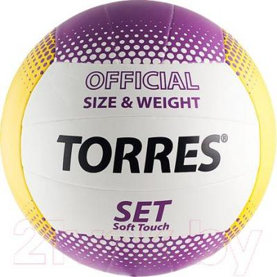 Мяч волейбольный Torres Set V30045 (White-Yellow-Purple) - общий вид