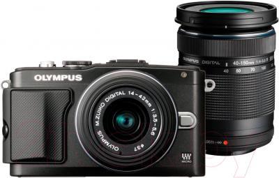 Беззеркальный фотоаппарат Olympus E-PL5 Double Kit 14-42mm II R + 40-150mm R  (Black) - общий вид