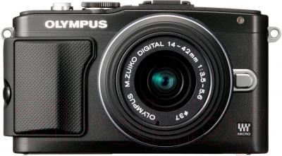 Беззеркальный фотоаппарат Olympus E-PL5 Double Kit 14-42mm II R + 40-150mm R  (Black) - вид спереди