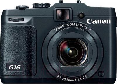 Компактный фотоаппарат Canon PowerShot G16 (Black) - вид спереди