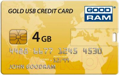 Usb flash накопитель Goodram Gold USB Credit Card 4GB (PD4GH2GRCCPR9)  - общий вид