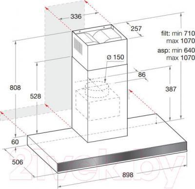 Вытяжка Т-образная Hotpoint HLB 9.8 LA X/HA - габаритные размеры
