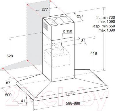 Вытяжка Т-образная Hotpoint HLC 9.8 LT X/HA - габаритные размеры
