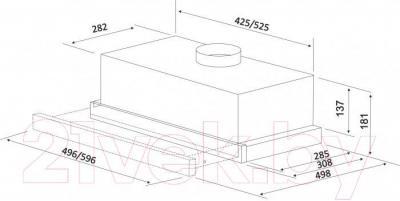 Вытяжка телескопическая Zorg Technology Breeze II (50, Inox) - габаритные размеры