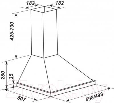 Вытяжка купольная Zorg Technology REA 750 (60, Inox) - габаритные размеры