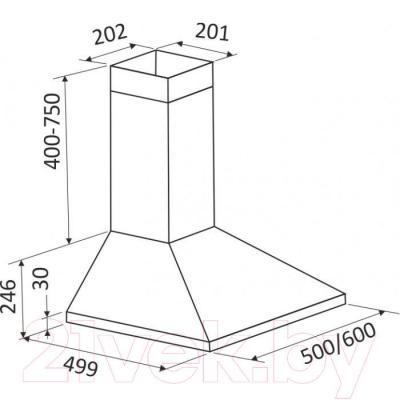 Вытяжка купольная Zorg Technology Kvinta 750 (60, нержавеющая сталь) - габаритные размеры