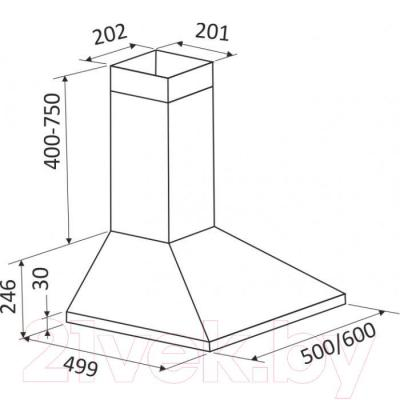 Вытяжка купольная Zorg Technology Kvinta 750 (60, бежевый) - габаритные размеры