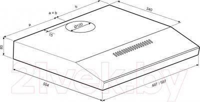 Вытяжка плоская KRONAsteel Jessica Slim 60 Sensor (белый) - схема