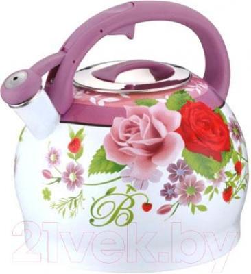 Чайник со свистком Peterhof PH-15606 (фиолетовая ручка) - общий вид