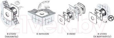 Вентилятор вытяжной Cata SILENTIS 10 INOX T - способы установки
