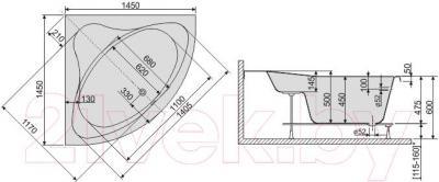Ванна акриловая Sanplast WS/CL 145x145+ST8 biew - схема