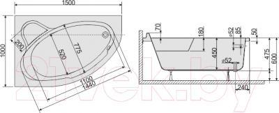 Ванна акриловая Sanplast WAL/CO 100x150+ST5 bi