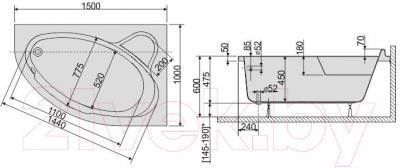 Ванна акриловая Sanplast WAP/CO 100x150+ST5 bi - схема