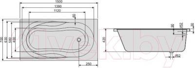 Ванна акриловая Sanplast WP/AS 70x150+S25T biew - схема