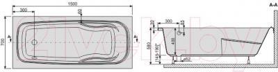 Ванна акриловая Sanplast WP/EKOPlus 70x150+ST4 biew - схема