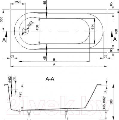 Ванна акриловая Sanplast WP/KABRO Optima 70x150+ST4 biew