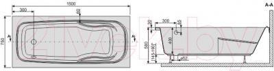 Ванна акриловая Sanplast WP/EKOPlus 75x150+ST4 biew - схема
