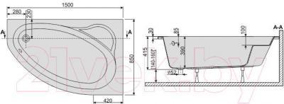 Ванна акриловая Sanplast WAP/EKOPlus 85x150+ST18 biew - схема