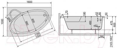 Ванна акриловая Sanplast WAL/CO 100x160+ST5 bi - схема